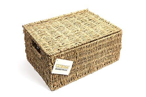 woodluv Aufbewahrungskorb aus Seegras, extra groß, mit Deckel